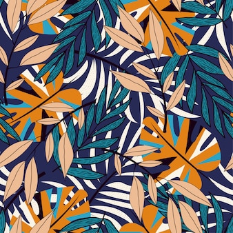 Trend seamless pattern with colorful tropical leaves and plants