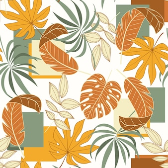 Trend seamless pattern with geometric shapes and tropical leaves