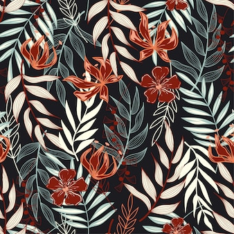 Trend seamless pattern with tropical leaves and bright colors