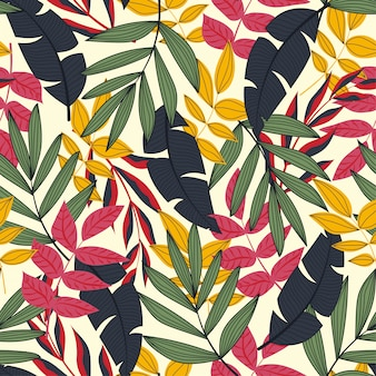 Trend seamless pattern with tropical leaves