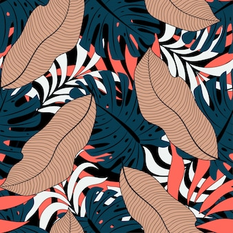 Trend seamless tropical pattern with beige and green leaves and plants