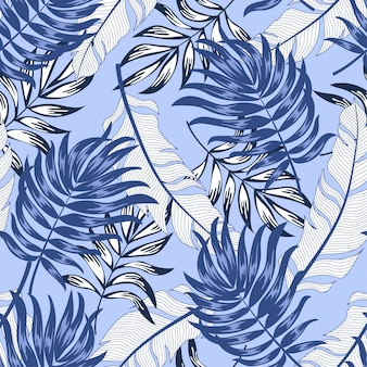 Trend seamless tropical pattern with bright plants and leaves on a purple background