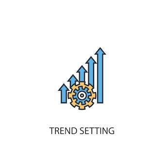 트렌드 설정 개념 2 컬러 라인 아이콘입니다. 간단한 노란색과 파란색 요소 그림입니다. 트렌드 설정 개념 개요 기호 디자인
