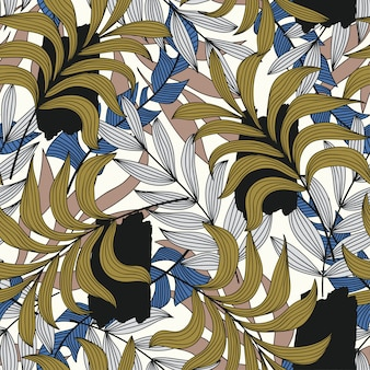 Trend tropical pattern with abstraction and plants. beautiful seamless vector