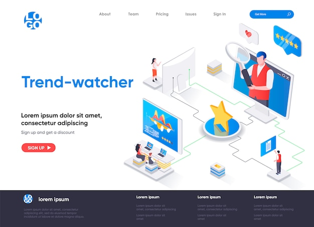 Trend-watcher isometric landing page template