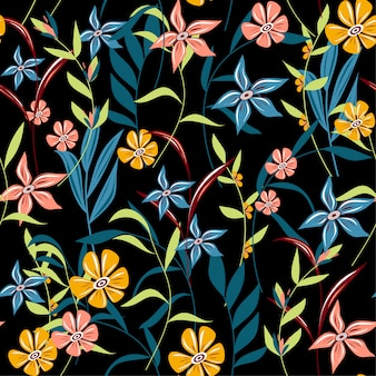 Trending abstract seamless pattern with colorful tropical leaves and flowers on a dark background