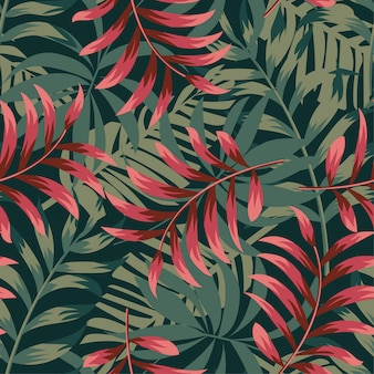 Trending abstract seamless pattern with colorful tropical leaves and plants on green
