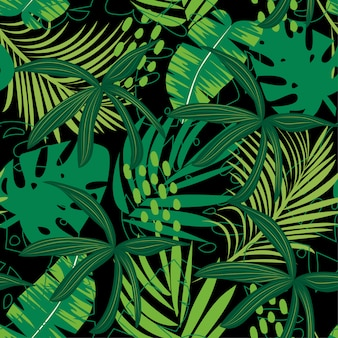 Trending abstract seamless pattern with colorful tropical leaves and plants