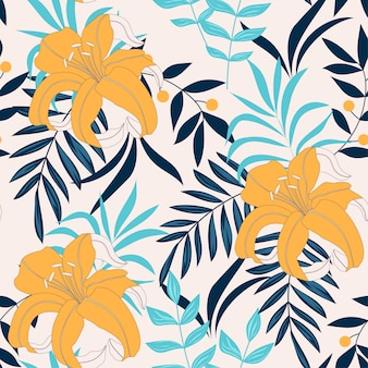Trending abstract seamless pattern with tropical leaves