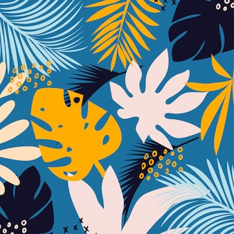 Trending bright seamless background with colorful tropical leaves and plants on light background