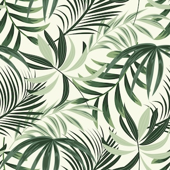 Trending bright seamless pattern with colorful tropical leaves and plants