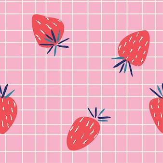 Тенденция летнего узора с розовой плиткой и клубникой