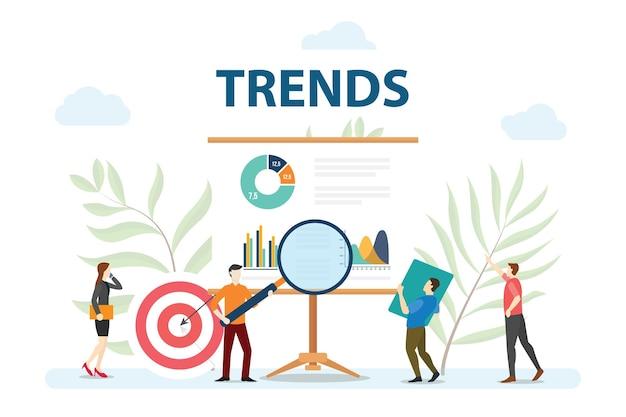 トレンド市場予測の人々は、最新のフラットスタイルのベクトルを使用してグラフとチャートからデータを分析します