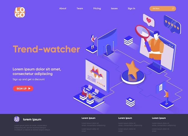 Trendwatcher 3d изометрическая иллюстрация целевой страницы веб-сайта с персонажами людей