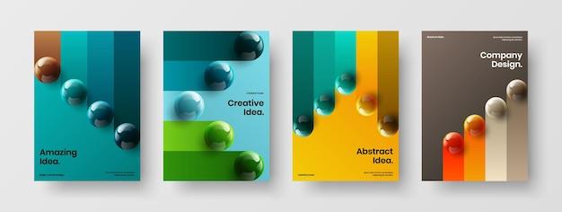 Набор концептуальных буклетов модных 3d мячей