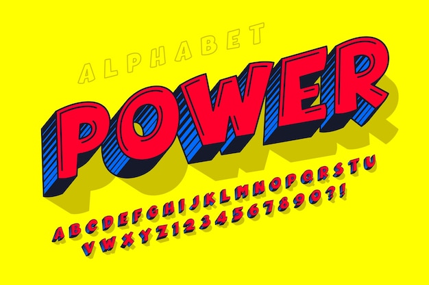 유행 3d 코믹한 디자인, 다채로운 알파벳