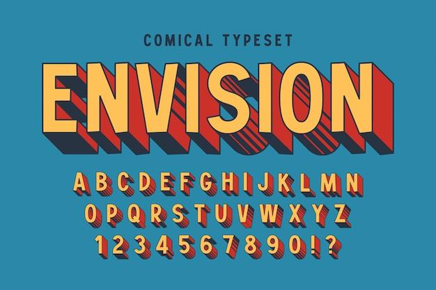 Модный 3d комичный дизайн шрифта, красочный алфавит, шрифт.