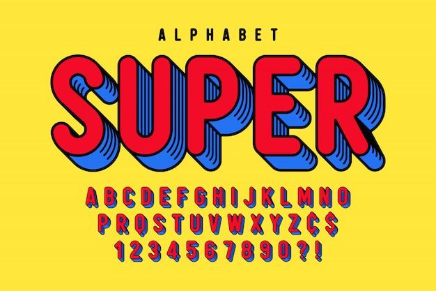Модный 3d дизайн комического шрифта, красочный алфавит