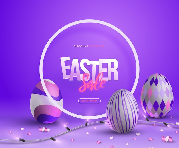 Trendy 3d easter sale banner illustration