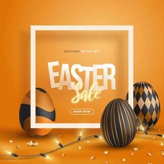 Trendy 3d easter sale banner with square frame illustration