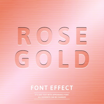 Trendy 3d rose gold stamp text effect graphic style