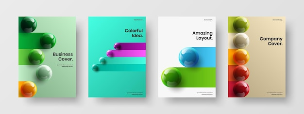 Trendy 3d spheres front page concept collection