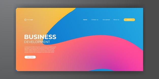 방문 페이지 디자인을 위한 최신 유행의 추상적인 배경입니다. 트렌디한 추상 디자인 템플릿입니다. 방문 페이지, 표지, 브로셔, 전단지, 프레젠테이션, 배너에 대한 동적 그라데이션. 벡터 일러스트 레이 션.