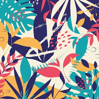 Trendy abstract background with colorful tropical leaves and flowers