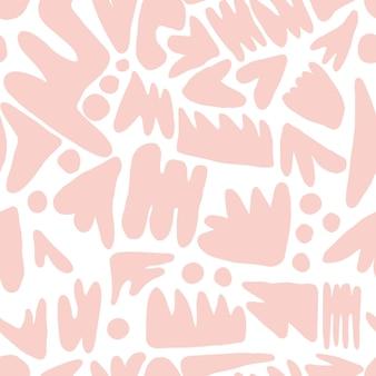 트렌디한 추상 얼룩 모양 완벽 한 패턴입니다. 흰색 바탕에 개념 현대 직물 섬유 디자인입니다. 책 표지, 월페이퍼, 디자인, 그래픽 아트, 포장을 위한 현대적인 배경