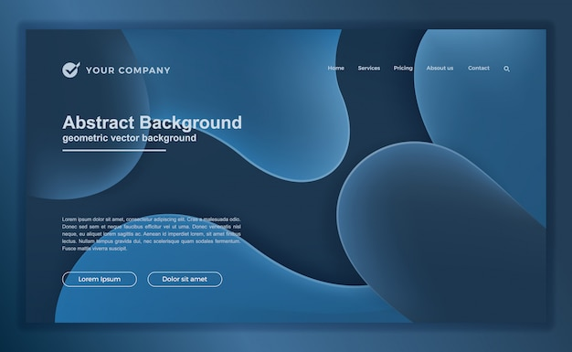 Trendy abstract blue liquid landing page or web template