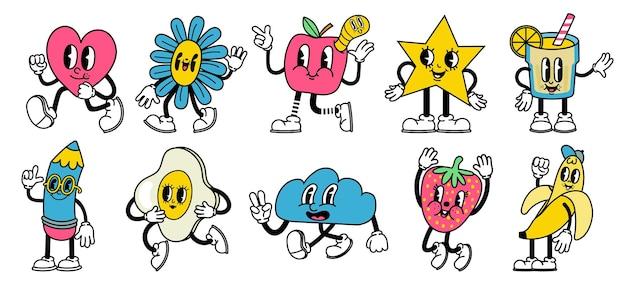 トレンディな抽象的な漫画。変な顔のベクトルセットで明るい漫画の心、星、リンゴ、鉛筆のマスコット。幸せで陽気な表情で走ったり、ジャンプしたり、歩いたりするキャラクター
