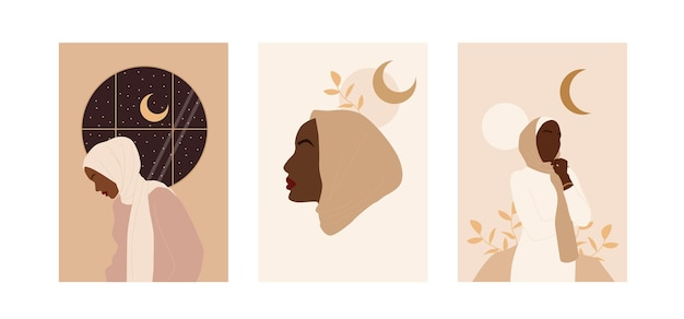 Trendy abstract collection with modern muslim posters for decorative design. beauty hijab woman.