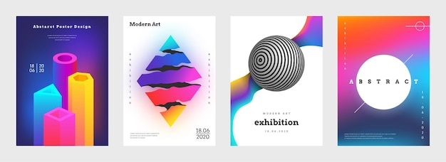 Trendy abstract cover. creative book titles and music posters with realistic geometric forms. vector illustration banner and flyers futuristic set with vibrant colors and graphical designs