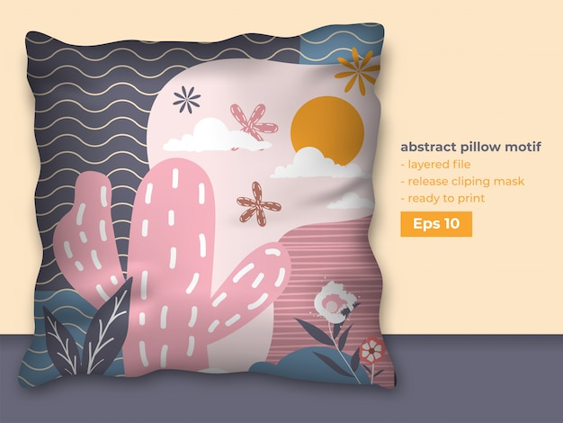 Trendy abstract design for pillow printing production