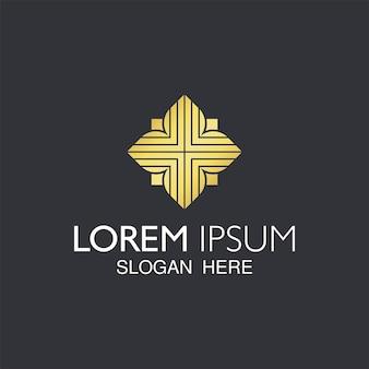 トレンディな抽象的な黄金の花のロゴのデザイン。