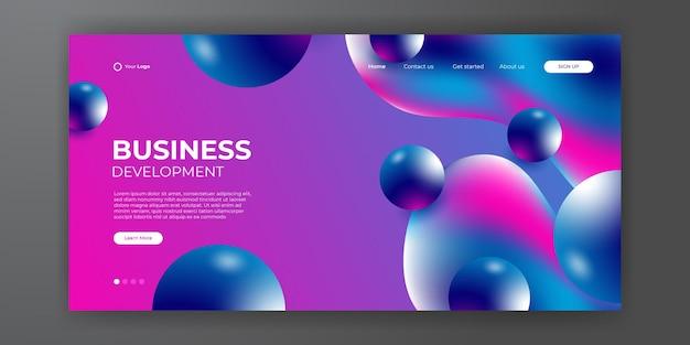 방문 페이지 디자인을 위한 트렌디한 추상 액체 배경. 웹사이트 디자인을 위한 최소한의 배경. 그라디언트 생생한 대비 색상