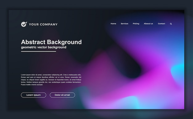 Trendy abstract liquid background for your landing page