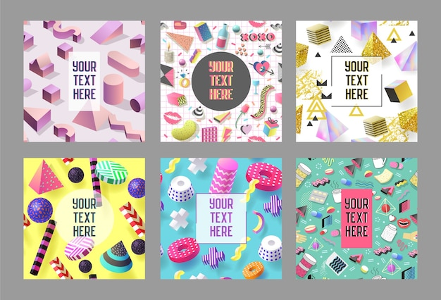 Trendy abstract memphis poster templates set with place for your text. hipster banners backgrounds 80-90 vintage style.