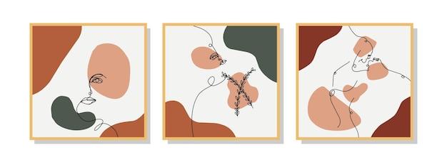 ヴィンテージスタイルのアートの壁の装飾のために手描きのトレンディな抽象的なミニマルな顔のラインアート