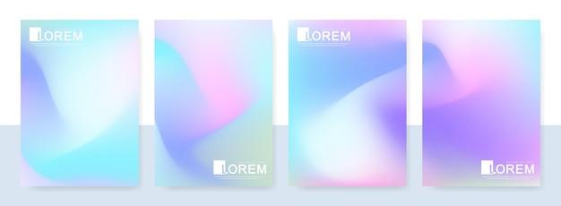 A4 크기의 트렌디한 추상 모형 파스텔 다채로운 그라데이션 아트 홀로그램 템플릿. 브로셔용 게시물, 배너 디자인 및 레이아웃 디자인 템플릿에 적합합니다. 벡터 패션 배경입니다.