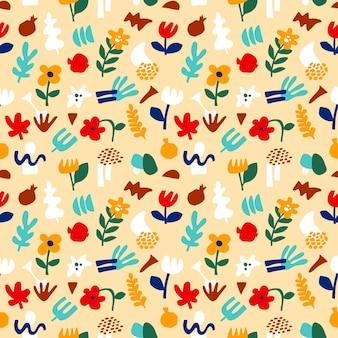 トレンディな抽象的なパターン、現代的なスタイルの幾何学的な形。ベクトル花のシームレスなパターンの花、モダンなコラージュスタイルの葉。抽象的な形手描きイラスト。カラフルなトレンディな背景