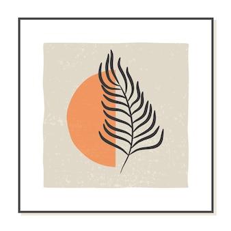 熱帯の葉と最小限のスタイルでトレンディな抽象的なポスター
