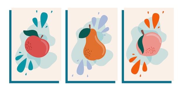 トレンディな抽象的なポスターは果物のある静物です。現代美術のコレクション。抽象的な幾何学的要素、リンゴ、ナシ、桃とのソーシャルネットワークの形。