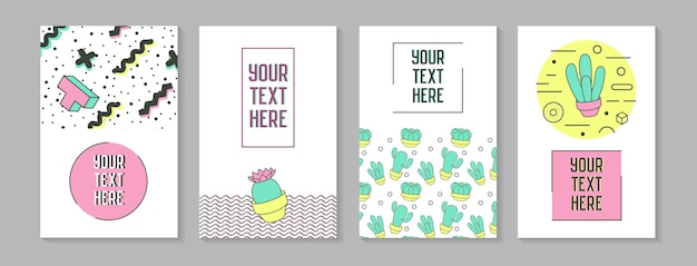 Trendy abstract posters in memphis style with geometric shapes and cactus. minimalistic elements patterns, banners, invitations. vector illustration