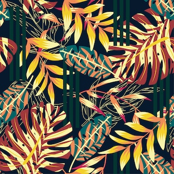 Trendy abstract seamless pattern with colorful tropical leaves and flowers