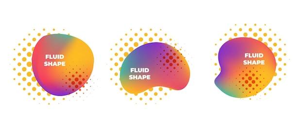 トレンディな抽象的な形は、ハーフトーン要素で流動的な色のバナーを設定します