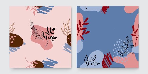꽃과 기하학적 요소가 있는 세련된 추상 사각형 아트 템플릿입니다. 소셜 미디어 게시물, 모바일 앱, 배너 디자인 및 웹 또는 인터넷 광고에 적합합니다. 패션 배경