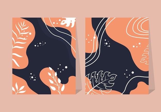 花と幾何学的な要素を持つトレンディな抽象的な正方形のアートテンプレート。