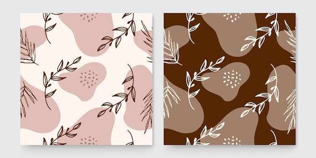 Trendy abstract square art templates with floral and geometric elements. suitable for social media posts, mobile apps, banners design and web or internet ads. fashion backgrounds