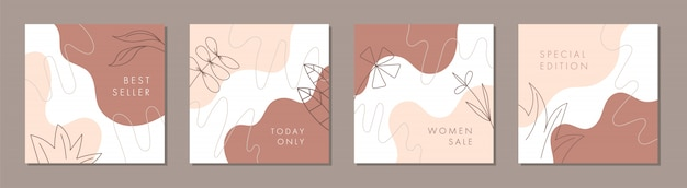 Trendy abstract square template for social media post with nature concept.